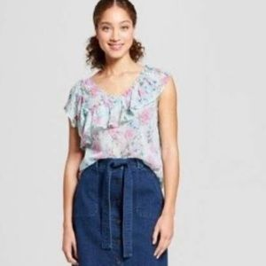 A New Day Floral Asymmetrical Top